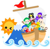 The Seven Deities of Good Luck and the Treasure Sh. At the daybreak of new age, the Seven Deities of Good Luck came over on the big Treasure Ship Stock Photo