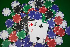 Seven deuce. Poker hand - seven deuce  on colorful chips; seven deuce is the worst hand Royalty Free Stock Images