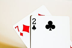 Seven Deuce Off-suit. The worst starting hand in Poker Stock Images