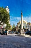 Seven Dials Covent Garden London. Seven Dials is a boutique enclave at Covent Garden in the heart of the theatre district in London, England Stock Photo