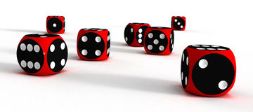 Seven dices (3D). Seven dices on white surfaces (3D Royalty Free Stock Images