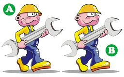 Seven differences. Game for children's: spot the 7 differences between these two engineers Stock Illustration