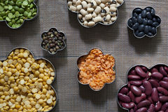 Seven Different Dried Legumes Royalty Free Stock Image