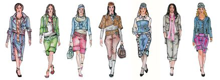 Seven different fashion models. This is set of my fashion illustrations Royalty Free Stock Photos