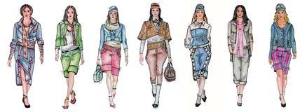 Seven different fashion models royalty free illustration
