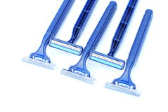 Seven disposable blu razors. Disposable blu razors, duoble blade and plastic body Stock Photography