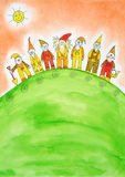 Seven dwarfs, child's drawing, watercolor painting Royalty Free Stock Photography