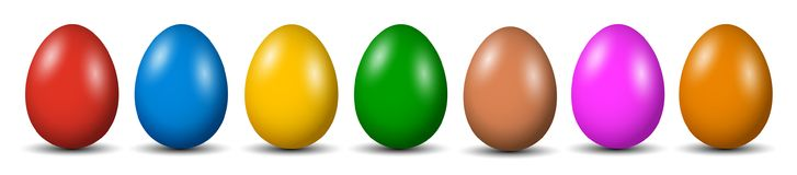 Seven Easter eggs, collection of colored eggs, Easter symbol -  Royalty Free Stock Photos
