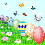 Seven easter eggs Royalty Free Stock Photo