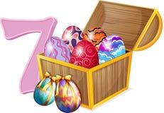 Seven Easter eggs. Illustration of the seven Easter eggs on a white background Stock Image