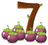 Seven eggplants. Illustration of the seven eggplants on a white background Stock Image