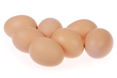 Seven eggs Stock Images