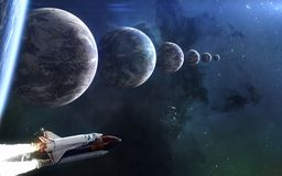 Seven exoplanets on same line. Space Shuttle, beautiful space landscape. Science fiction art. Image in 5K for desktop wallpaper. Elements of the image were royalty free illustration