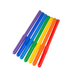 Seven felt pens lie in a row Royalty Free Stock Photo