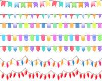 Seven festive horizontal seamless patterns. Royalty Free Stock Photos
