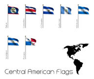 Seven Flags of Central America. The flags of the seven states of Central America with a silhouette map of the americas Stock Images