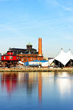 The Seven Foot Knoll Lighthouse in Baltimore Inner Harbor. Baltimore Inner Harbor, Pier 5. Reflections in ice Royalty Free Stock Images
