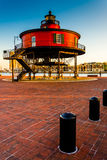 Seven Foot Knoll Lighthouse in the Inner Harbor, Baltimore, Mary Stock Photo
