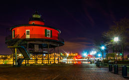 Seven Foot Knoll Lighthouse at night, in the Inner Harbor, Baltimore, Maryland. Seven Foot Knoll Lighthouse at night, in the Inner Harbor, Baltimore, Maryland royalty free stock photos