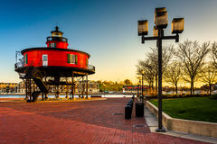 Seven Foot Knoll Lighthouse at sunset, at the Inner Harbor in Ba royalty free stock image