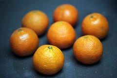 Seven fresh Mandarin oranges Stock Image