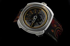Seven Friday Automatic Watches in Black Clear Background stock image