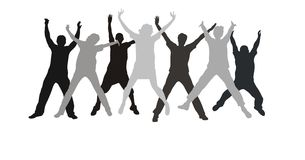 Seven friends hands  jump Royalty Free Stock Images