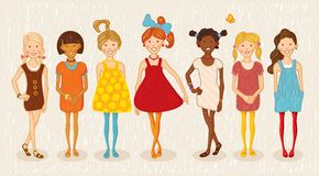 Seven girls illustration set Royalty Free Stock Photos