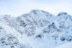 Seven glacier view. Caucasian Mountains area. Cheget, Russia royalty free stock image