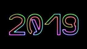 2019 - seven glowing colors neon text, moving lights, on transparent background stock video footage