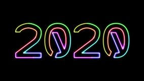 2020 - seven glowing colors neon text, moving lights, on transparent background stock video