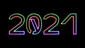 2021 - seven glowing colors neon text, moving lights, on transparent background stock footage
