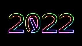2022 - seven glowing colors neon text, moving lights, on transparent background stock footage
