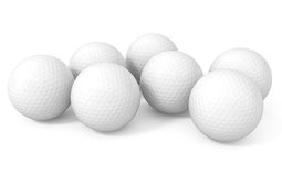 Seven Golf Balls isolated on white. 3d illustration Royalty Free Stock Photography