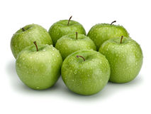 Seven green apples Royalty Free Stock Photos