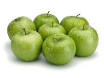 Seven green apples Royalty Free Stock Photos