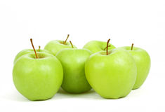 Seven green apples isolated on a white background Royalty Free Stock Photography