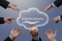 Seven hands with shareconomy illustration Stock Photography
