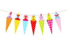 Seven Hanging Colorful School Cornets Pattern Bow vector illustration