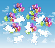 Seven happy babies flying on colorful balloons in the sky. 7 white silhouettes of babies flying on colorful balloons on a blue sky background royalty free stock image