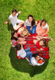 Seven happy friends relaxing on a picnic blanket. Top view portrait of seven happy friends relaxing on a picnic blanket near a basket on a grassy meadow Royalty Free Stock Image