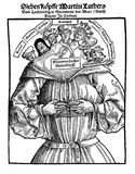 The seven heads of Martin Luther, XVI century, satiric flyer, Stock Photography