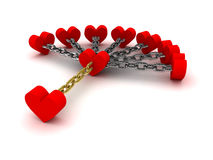 Seven hearts linked with one heart.  Dependence on past relations. Stock Photo