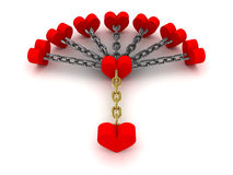 Seven hearts linked with one heart.  Dependence on past relations. Concept 3D illustration Stock Images