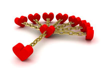 Seven hearts linked with one heart. Good relations. Stock Photo