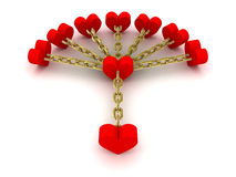 Seven hearts linked with one heart. Good relations. Concept 3D illustration Stock Photography
