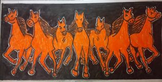 Seven Horses in black background vector illustration