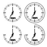 Seven Hours Clock on white background. Seven o`clock. Four options stock illustration