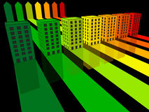 Seven houses. Seven apartment houses/office buildings certified in seven energetic classes royalty free illustration