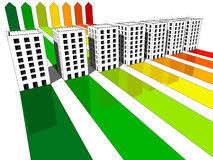 Seven houses energy rating diagram Stock Photo